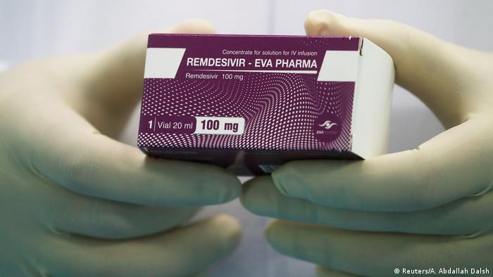 A box of the remdesivir antiviral drug