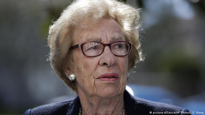 In this Thursday, March 7, 2019 file photo, Eva Schloss, the stepsister of Anne Frank and a Holocaust survivor, attends a news conference in Newport Beach, California.