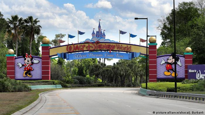 Sign over approach road leading to Walt Disney World in Orlando