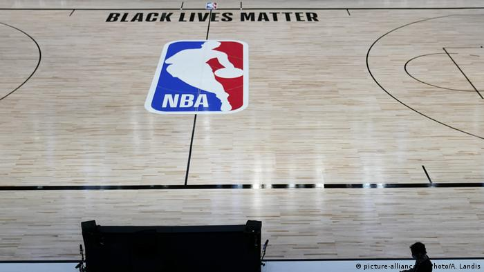 Black Lives Matter emblazoned on NBA court