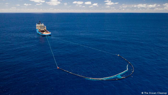 An Ocean Cleanup vessel at work