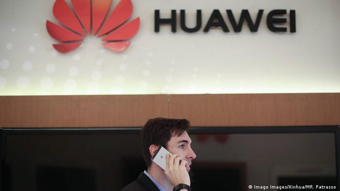 Huawei in Brasilien Logo in Sao Paulo (Imago Images/Xinhua/MR. Patrasso )