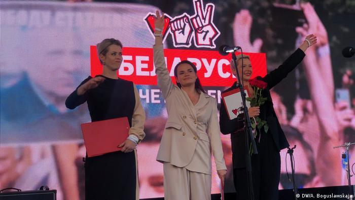 Тихановская, Цепкало и Колесникова на концерте-митинге оппозиции 30 июля 2020 года