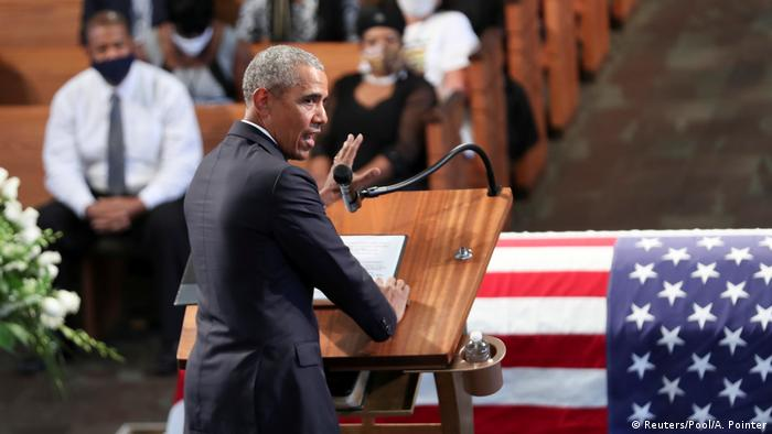 Former U.S. President Barack Obama addresses the service during the funeral of late U.S. Congressman John Lewis, a pioneer of the civil rights movement and long-time member of the U.S. House of Representatives who died July 17, at Ebeneezer Baptist Church in Atlanta, Georgia, U.S. July 30, 2020. (Reuters/Pool/A. Pointer)