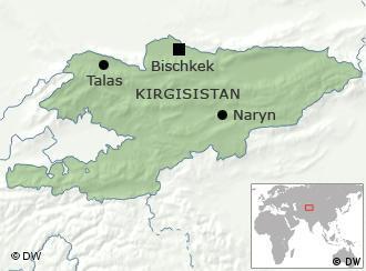 Karte Kirgisistan mit Hauptstadt Bischkek und Talas und Naryn (Grafik: DW)
