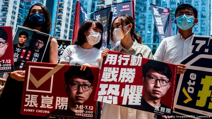 Hongkong Pro-Demokratie-Aktivisten Gwyneth Ho, Leung Hoi-ching, Tiffany Yuen und Joshua Wong