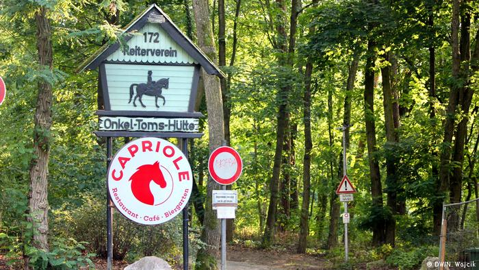 Sign for riding club called Uncle Tom's Cabin in Berlin