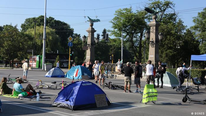Кадър от протестите в София