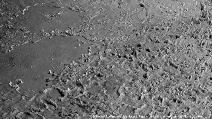 Triton's Cantaloupe terrain as captured by the Voyager space probe in 1989.