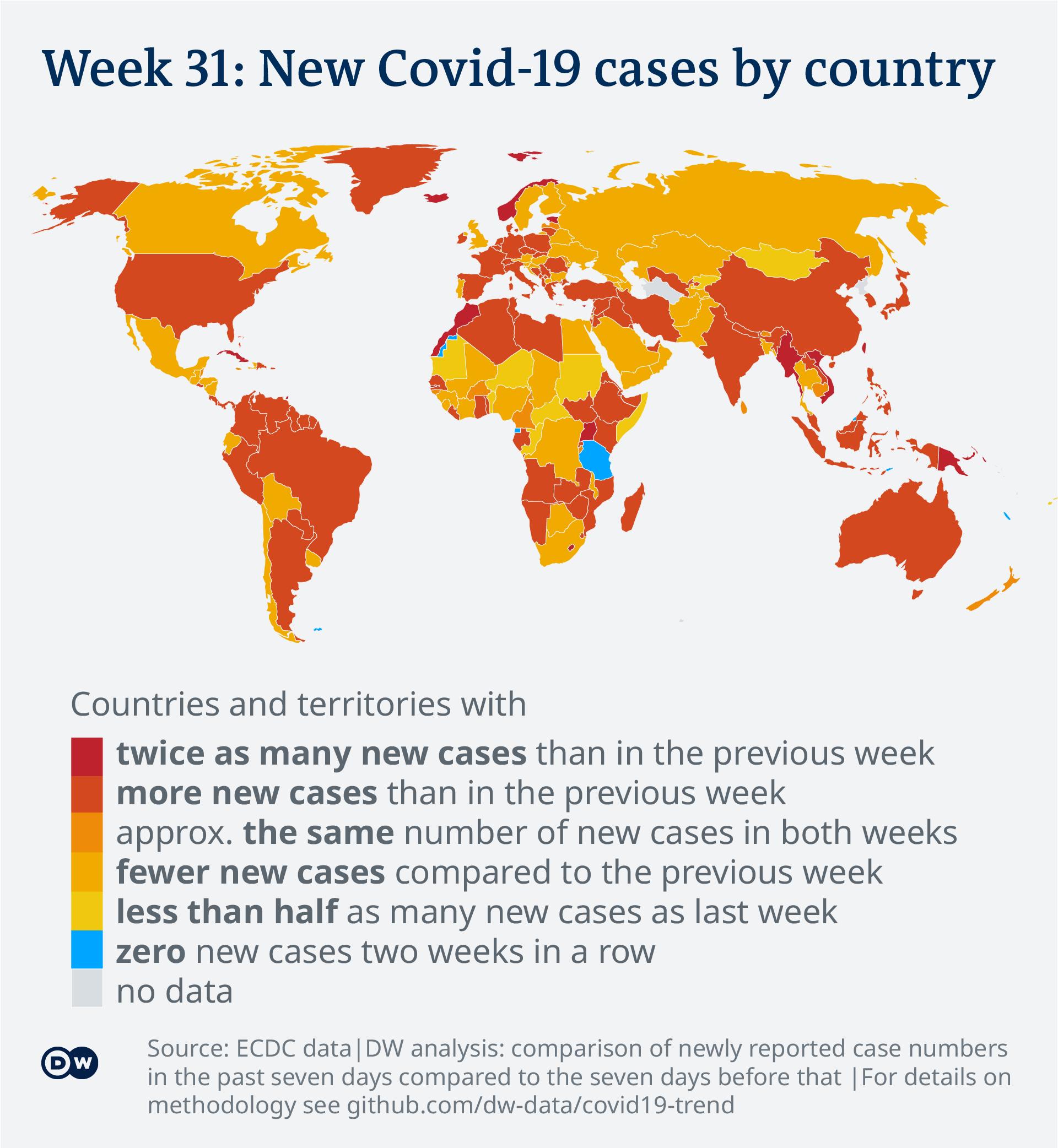 Data visualization: Covid-19 global new case numbers trend - map calendar week 31