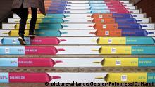 Deutschland Ritter Sport Werbung auf Treppe