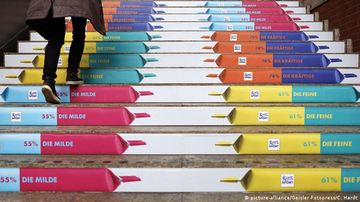 Ritter Sport chocolate on stairs