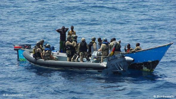 German soldiers seizing a pirate vessel off Somalia