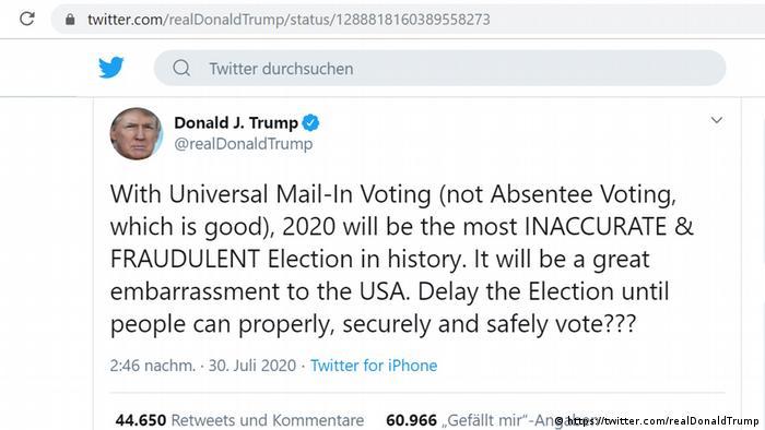 Trumpov Tweet o varanju na izborima