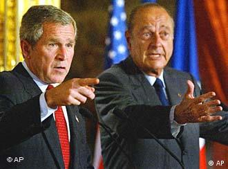 U.S. President Bush and French President Jacques Chirac don't always see eye-to-eye on transatlantic issues