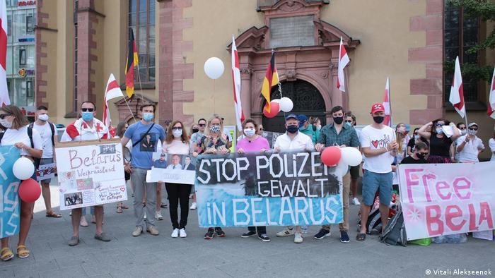 Франкфурт-на-Майне. Демонстрация в поддержку протестующих в Беларуси