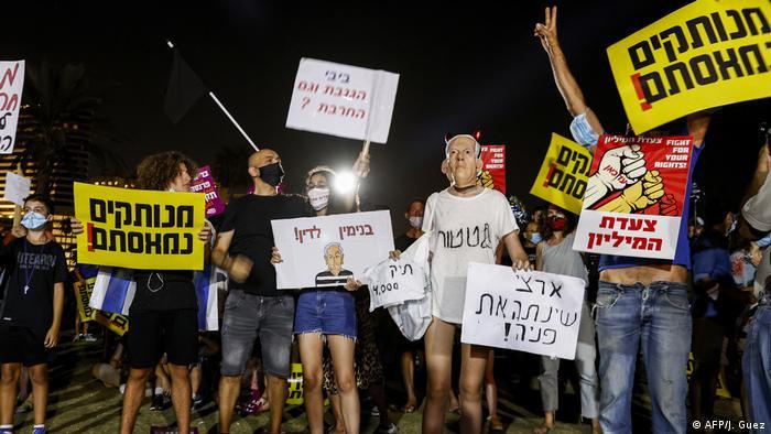 Anti-government protesters in Tel Aviv