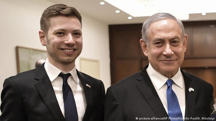 Israel I Sohn Yair und Benjamin Netanyahu (picture-alliance/AP Photo/Kremlin Pool/A. Nikolskyi)