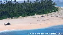 An Australian Army ARH-90 Tiger Helicopter lands on Pikelot Island in the Federated States of Micronesia where three men were found safe and healthy after missing for three days.