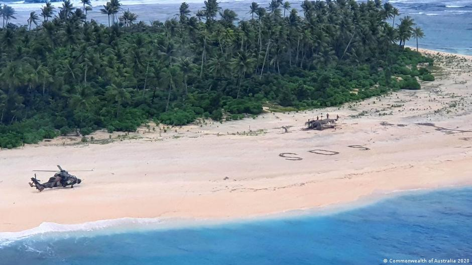 Sailors found on Micronesia island after writing SOS in sand