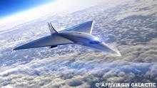 This undated illustration obtained August 3, 2020,courtesy of Virgin Galactic shows the Mach 3 Aircraft design for high speed travel. - Space company Virgin Galactic on August 3, 2020 announced a preliminary partnership with engine maker Rolls Royce to build an airliner capable of flying at three times the speed of sound. Only the Concorde had, from 1976 to 2003, regularly transported passengers in the history of air transport. Virgin Galactic wants to go faster (Mach 3 instead of Mach 2 for the Concorde), but will have to solve the problems that have doomed the Concorde, in particular noise and fuel consumption. (Photo by Handout / Virgin Galactic/The Spaceship Company / AFP) / -----EDITORS NOTE --- RESTRICTED TO EDITORIAL USE - MANDATORY CREDIT AFP PHOTO / VIRGIN GALACTIC - NO MARKETING - NO ADVERTISING CAMPAIGNS - DISTRIBUTED AS A SERVICE TO CLIENTS - NO ARCHIVES / TO GO WITH AFP STORY - Virgin Galactic wants to build a supersonic aircraft