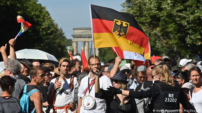 Protesters in Berlin gather for the Day of Freedom (Getty Images/AFP/J. MacDougall)