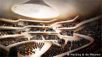 A computer simulation of the largest hall inside the new Elbphilharmonie