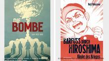 Kombobild Buchcover Die Bombe und Buchcover: Barfuss durch Hiroshima - Kinder des Krieges