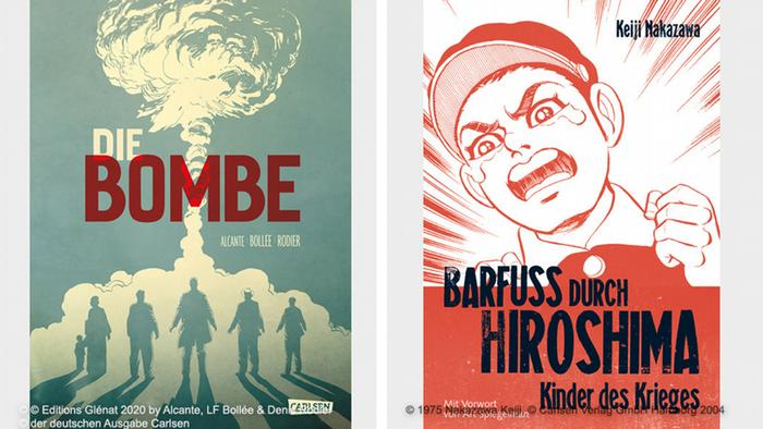 German covers of two graphic novels about Hiroshima