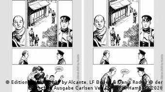 Illustration from the book La Bombe: the illustration at the left shows father and son hugging; the scene on the right made it into the book, as it depicts father and son greeting each other at some distance