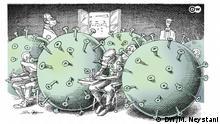 Karikatur Corona und Aufnahme Prüfung