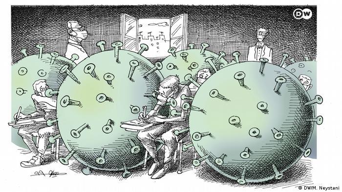 رسم يوضح محاصرة الفيروس للمدارس والجامهات