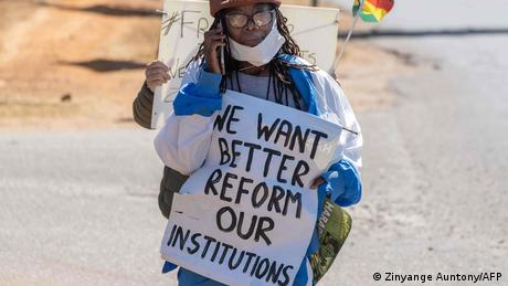 Tsitsi Dangarembga protesting on July 31, 2020, shortly before her arrest(AFP/Z. Auntony)