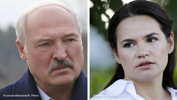Aleksandr Lukașenko, actualul președinte al Belarus și contracandidata sa, Svetlana Tihanovskaia