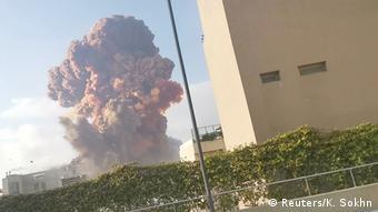 Εικόνα από τη στιγμή της έκρηξης το απόγευμα της Τρίτης