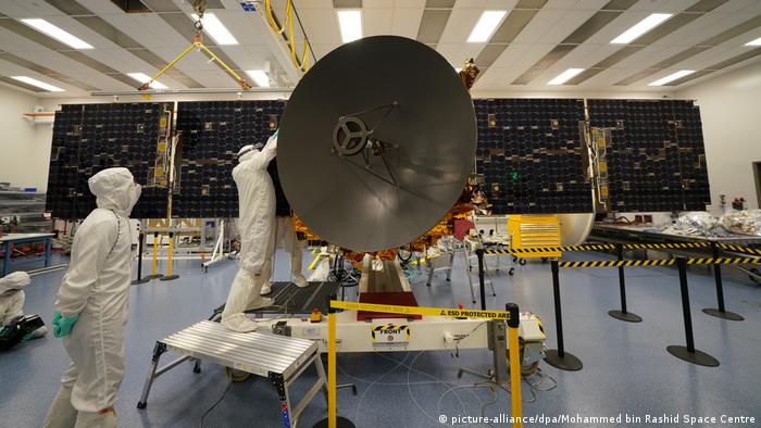 Preparations in Abu Dhabi for the recent launch to Mars