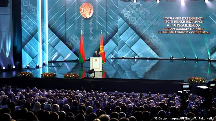 Minsk: Alexander Lukashenko speaks (Getty Images/AFP/Belta/A. Pokumeiko)