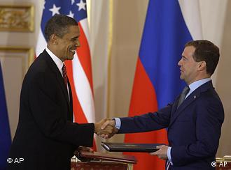President Barack Obama with his Russian counterpart Dmitry Medvedev after signing the new Start treaty