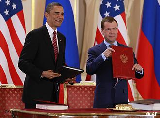 Presidents Barack Obama and Dmitry Medvedev after the signing of the new Start treaty in Prague, April 8, 2010