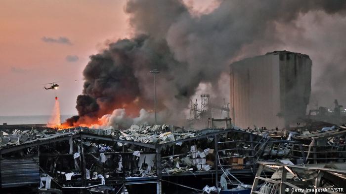 Porto de Beirute, no Líbano, depois da explosão