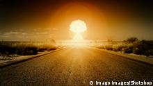 A stockphoto of a nuclear bomb exploding on the horizon