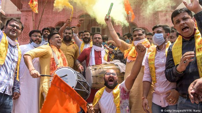 Begeisterte Mitglieder von Modis hindu-nationalistischer Partei BJP in Ayodhya (Foto: Getty Images/AFP/N. Nanu)