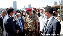 Lebanon's President Michel Aoun visits the site of Tuesday's blast in Beirut's port area, Lebanon August 5, 2020. Dalati Nohra/Handout via REUTERS ATTENTION EDITORS - THIS IMAGE WAS PROVIDED BY A THIRD PARTY