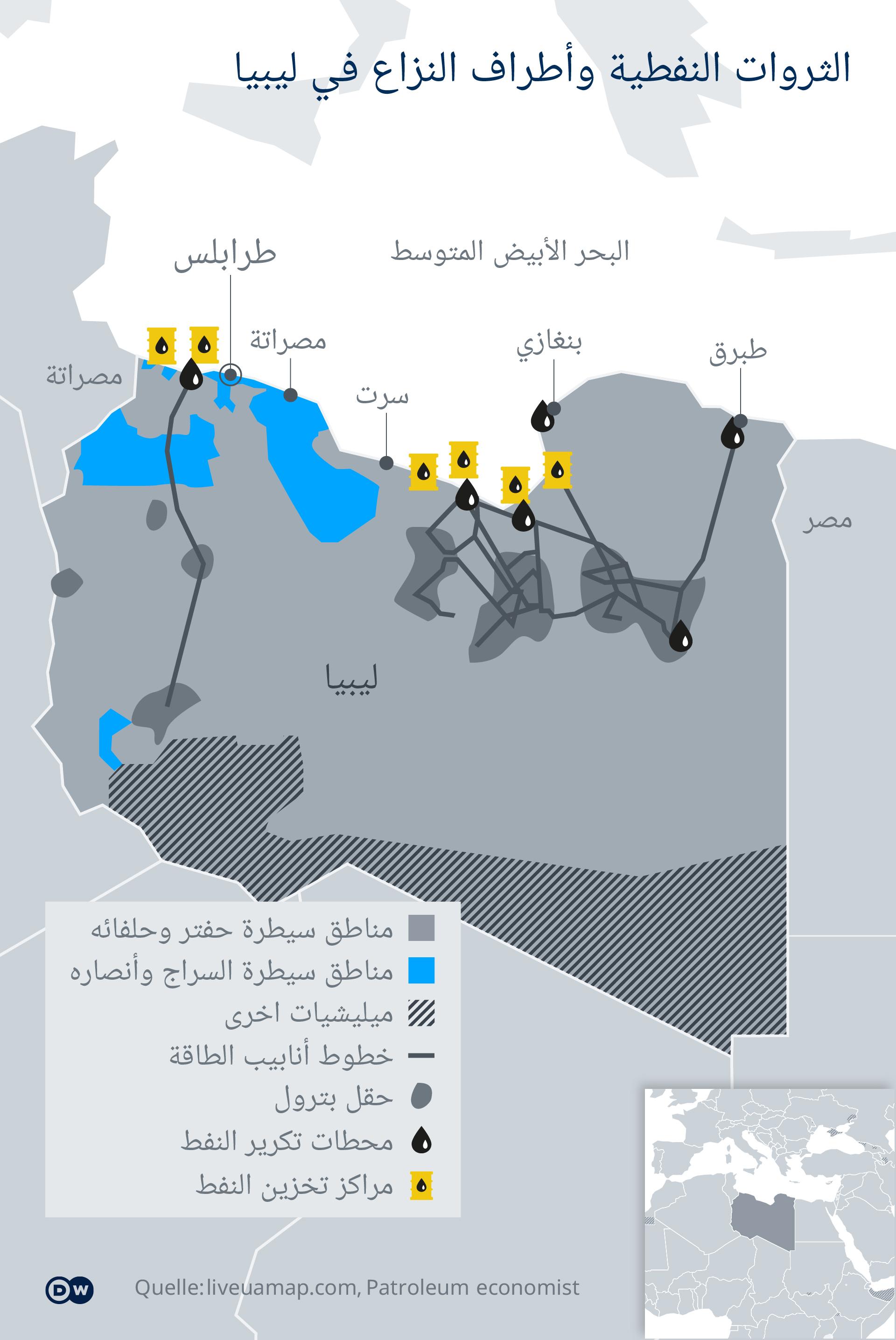 Infografik Karte Libyen Pipelines AR