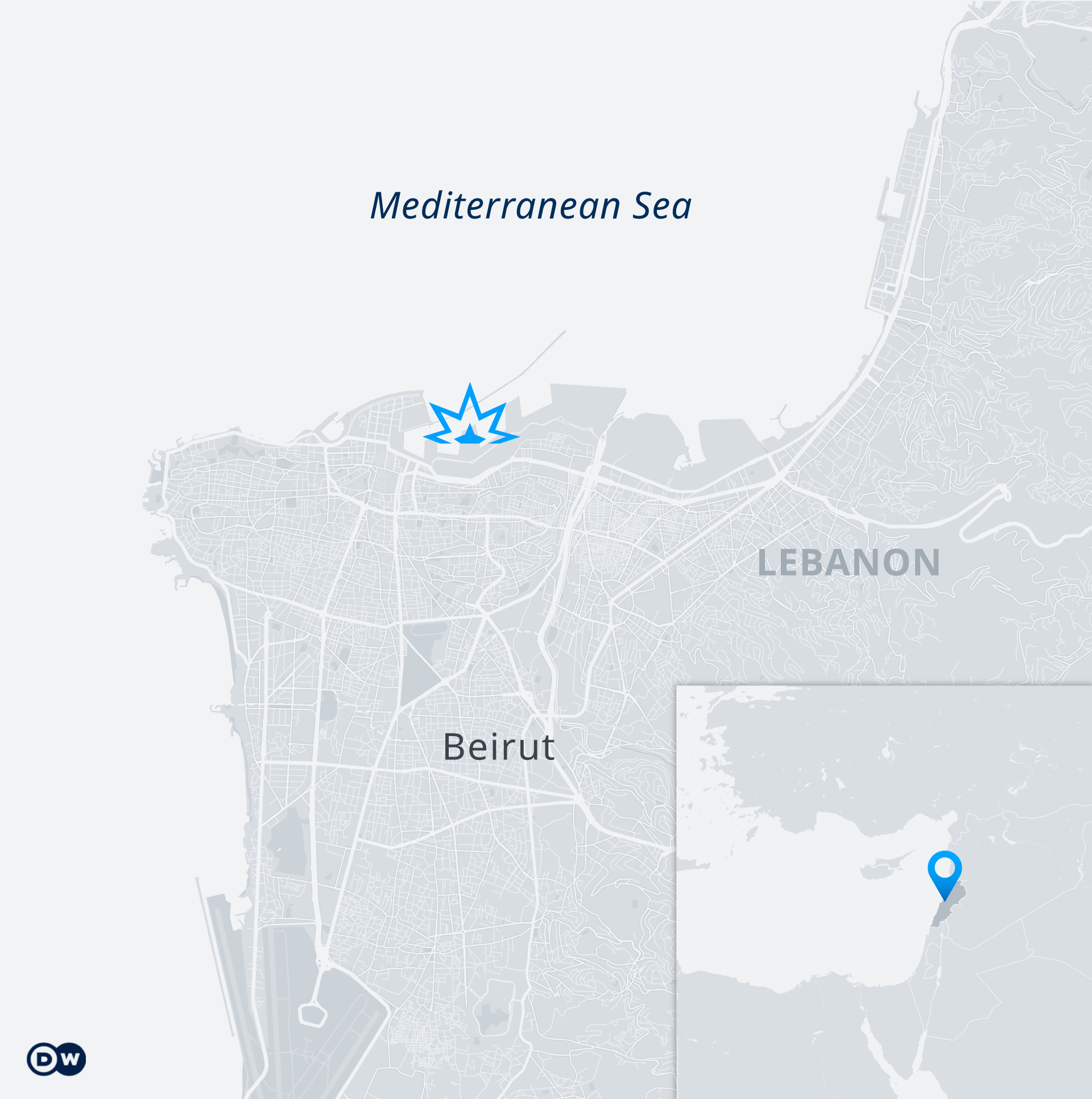 Karte Beirut Explosion EN