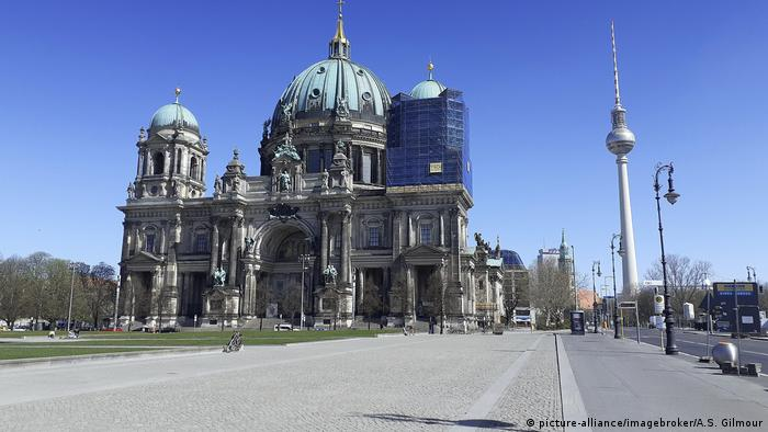 The Berlin cathedral with the television tower in the background