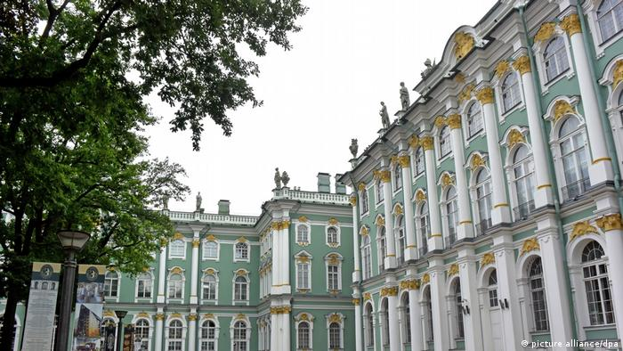 Hermitage Museum, ornate building, white, green and gold.