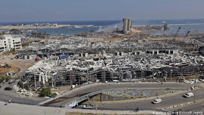 نمایی از منطقه بندری بیروت پس از انفجار