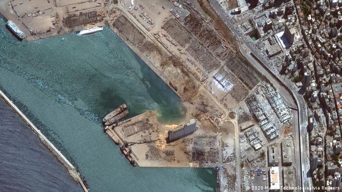 Libanon | Satellitenbild Beirut nach der Explosion (2020 Maxar Technologies/via Reuters)