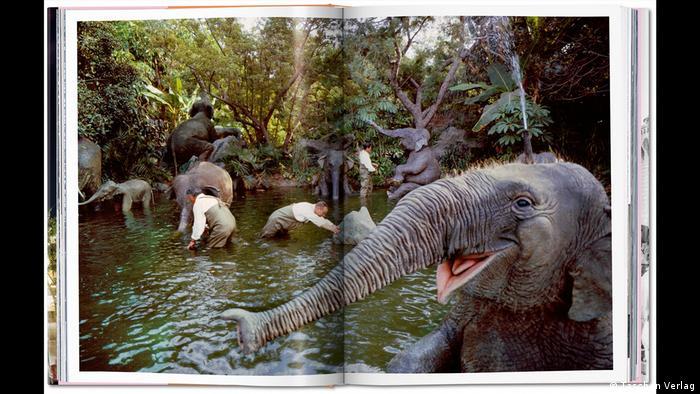 Aufgeschlagenes Buch mit einem Foto aus dem Disney-Freizeitpark mit Wasserlandschaft und künstlichen Elefanten (Taschen Verlag)